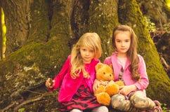 Zwei entzückende Mädchen blond und Brünette Stockfotos