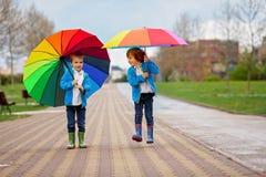 Zwei entzückende kleine Jungen, gehend in einen Park an einem regnerischen Tag, spielen Stockbild