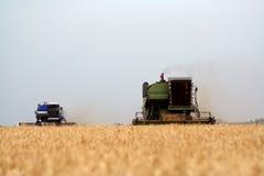 Zwei Erntemaschinen auf dem Gebiet Stockfotos