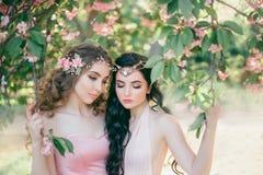 Zwei erstaunliche Elfen mit einer leichten Frühlingsmake-upnahaufnahme Blond und Brunette mit lang, gesundes, gewelltes Haar hand stockbild