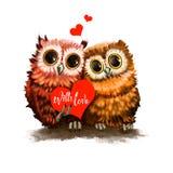 Zwei Eulenliebhaber mit Herzen Lustige Vögel mit Karte Romantisches Feiertagsplakat, Grußkarte Für Einladungsposter Lizenzfreies Stockbild