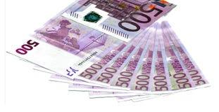 Zwei Euroanmerkungen mit Reflexion Stockfotos