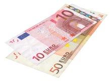 Zwei Eurobanknoten stockfotografie