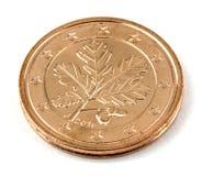 Zwei-Eurocent-Münze lokalisiert! Stockbild