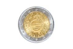 Zwei Eurogedenkmünzen Stockfoto