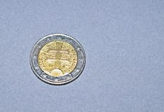 Zwei Euromünzenköpfe stockbild