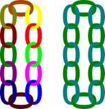 Zwei färbten Ketten hängen vertikal Stock Abbildung