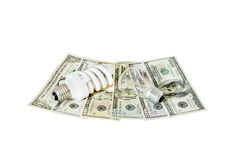 Zwei Fühler, die auf dem US-Dollar liegen Stockfotografie