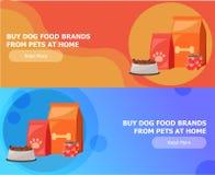 Zwei Fahnen für Tierfutter Nahrung für Katzen und Hunde Schüssel, Verpackung, Werbung Stockfotografie