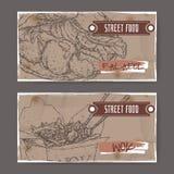 Zwei Fahnen mit Falafel- und Wokskizze auf Schmutzhintergrund Lizenzfreie Stockfotografie