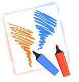 Zwei farbige Markierungen Stockfoto