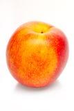 Zwei-farbiger orange und roter Pfirsich lokalisiert auf weißem Hintergrund Stockfotografie
