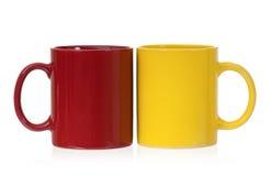Zwei Farbkaffeetassen Lizenzfreies Stockfoto