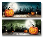 Zwei Feiertags-Halloween-Fahnen mit Kürbisen Stockbilder