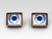Zwei Fernseher mit Augen auf Schirmen Lizenzfreie Stockfotos
