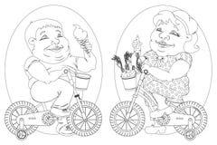 Zwei fette Leute auf Fahrrädern, Schwarzweiss-Bild Lizenzfreie Stockfotografie