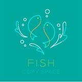 Zwei Fisch- oder Fisch-, Wasserspritzen und Luftblaselogoikone Lizenzfreies Stockbild
