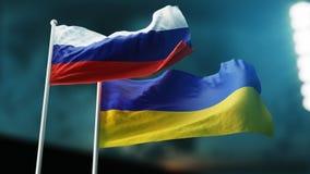 Zwei Flaggen, die auf Wind wellenartig bewegen Internationales Verhältnis-Konzept Russland, Ukraine lizenzfreie stockfotografie