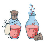 Zwei Flaschen mit gezeichneter Art der Herzikone in der Hand Liebeselixier Lizenzfreies Stockfoto