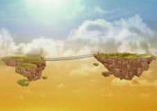 Zwei fliegende Inseln im Himmel, angeschlossen durch eine Brücke Stockfotografie