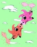 Zwei fliegende lustige Schweine lizenzfreie stockfotos