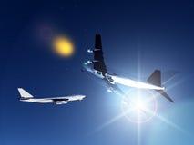 Zwei Flugzeuge, die nachts fliegen Stockbild