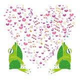 Zwei Frösche, die im Hintergrundherzen singen Stockbild