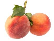 Zwei Früchte Pfirsich lokalisiert auf weißem Hintergrund, grüne Blätter stockfoto