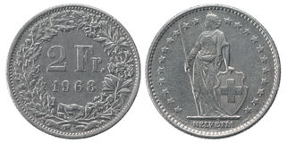 Zwei Franken Münze Lizenzfreies Stockfoto