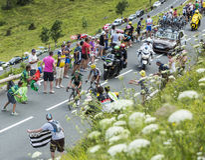 Zwei französische Radfahrer an Col. de Peyresourde - Tour de France 2014 Stockfotos