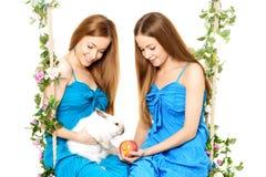 Zwei Frauen auf einem Schwingen auf weißem Hintergrund Stockbilder