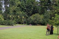 Zwei Frauen, die auf das Gras im botanischen Garten gehen Lizenzfreie Stockbilder