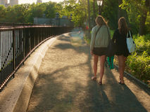 Zwei Frauen, die bei Central Park, New York gehen lizenzfreie stockfotos