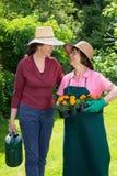 Zwei Frauen, die in einem Frühlingsgarten arbeiten Stockbilder