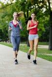 Zwei Frauen, die im Park rütteln Stockbild