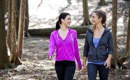 Zwei Frauen, die mitten in dem Holz wlaking sind Stockfoto