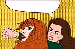 Zwei Frauen, die während Sie auf Weiß kämpfen, lokalisiert werden vektor abbildung