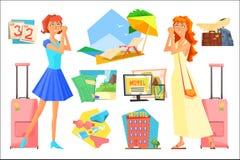 Zwei Frauen in Erwartung der Ferien PlanungsSommerferien Kalender, Strandzusätze, Gepäck, Flugzeug, Hotel lizenzfreie abbildung