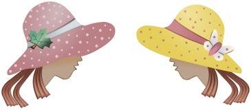 Zwei Frauen mit Hüten Stockbild