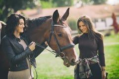 zwei Frauen Tierarzt und Inhaber, die mit einem Pferdefreien an der Ranch genießen lizenzfreies stockbild