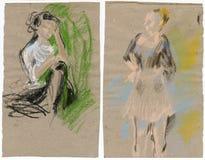 Zwei Frauen, zeichnend Stockfotos
