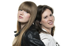 Zwei Frauen zurück zu Rückseite Stockbild