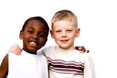 Zwei Freunde auf weißem Hintergrund Lizenzfreie Stockfotos