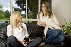 Zwei Freunde, die auf Sofa sich entspannen Lizenzfreies Stockfoto