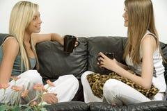 Zwei Freunde, die auf Sofa sich entspannen Lizenzfreie Stockfotografie