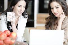 Zwei Freunde, die einen Laptop verwenden Stockfotos