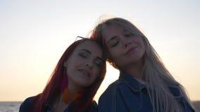 Zwei Freunde, die gegen den Sonnenuntergang über dem Meer lächeln, das die Strahlen der Sonne zwischen ihren Köpfen glänzen stock video