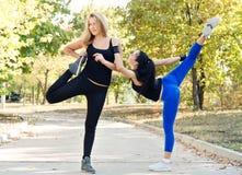 Zwei Freunde, die zusammen in einem Park trainieren stockfoto