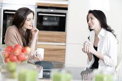 Zwei Freunde in einer Küche Stockbild