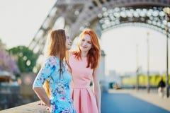 Zwei Freunde nahe dem Eiffelturm in Paris, Frankreich lizenzfreies stockfoto